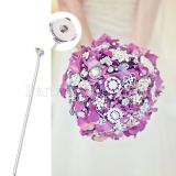 Metal snap flower ,Accessories for bouquets, floral art,  changeable 20MM button, length 31CM KC1165