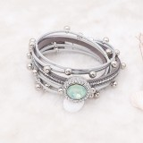 20MM design snap silver Plated with Green rhinestone KC6976 snaps jewelry