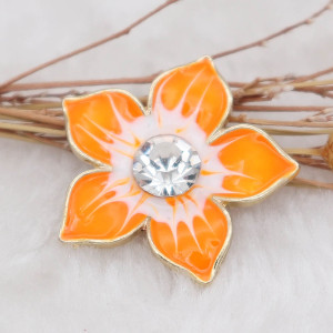 20MM Flowers Snap Gold Plated mit Strass und orange Emaille KC6973 Snaps Schmuck