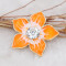 20MM Flowers snap gold Plated with rhinestone and  orange enamel KC6973 snaps jewelry