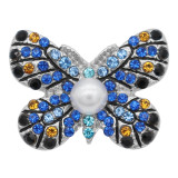 20MM Butterfly snap Silver Plated with Blue rhinestone and pearl  KC8003 snaps jewelry
