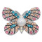 20MM Butterfly snap Silver Plated with rhinestone and pearl KC8004 snaps jewelry multicolor