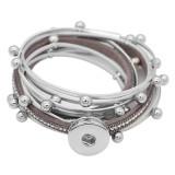 1 Knöpfe graues Leder mit weißem Strass KC0884 neuer Typ Armband passend für 20mm Druckknöpfe