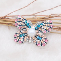 20MM Butterfly snap Versilbert mit Strass und Perle KC8004 snaps jewelry multicolor