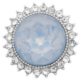 20MM design snap silver Plated with Light blue rhinestone KC6975 snaps jewelry