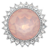 20MM design snap silver Plated with Pale pink rhinestone KC6977 snaps jewelry