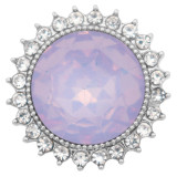 20MM design snap silver Plated with purple rhinestone KC6979 snaps jewelry
