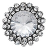 20MM design snap silver Plated with White rhinestone KC6981 snaps jewelry