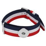 1 Knöpfe blau weiß rot KC0887 Uhrenarmbänder passen zur 20MM USA Flagge