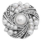 Bouton design 20MM Perles blanches KC8013 s'enclenchent bijoux