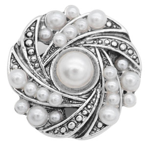 20MM design snap White pearls KC8013 snaps jewelry