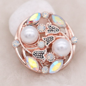 20MM design rose-gold plated snap  with  White  rhinestone and pearls KC8011 snaps jewelry