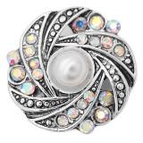 Snap design 20MM avec strass blanc et perles KC8014 snaps bijoux