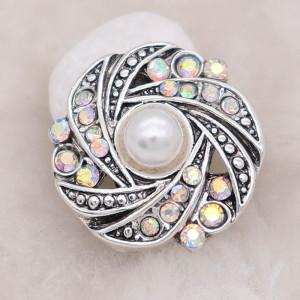 20MM design snap with white rhinestone and pearls KC8014 snaps jewelry