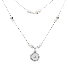 Pearl silver pendant Necklace with 60cm and 48cm chain KC1310 fit 20MM chunks snaps jewelry