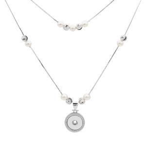 Perle Silber Anhänger Halskette mit 60cm und 48cm Kette KC1310 passen 20MM Stücke schnappt Schmuck