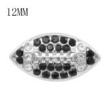 Broche de fútbol 12MM con joyería de broches intercambiables KS7054-S de diamantes de imitación en blanco y negro