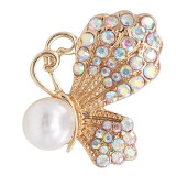 20MM design Butterfly  gold snap with White rhinestone and pearls KC8023 snaps jewelry