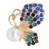 20MM design Butterfly  gold snap with Blue rhinestone and pearls KC8022 snaps jewelry