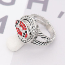 Football 12MM snap With Black and red Rhinestone KS7053-S interchangable snaps jewelry