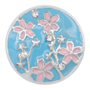 20MM Flowers snap Plated with Cyan rhinestone and enamel KC8030 snaps jewelry