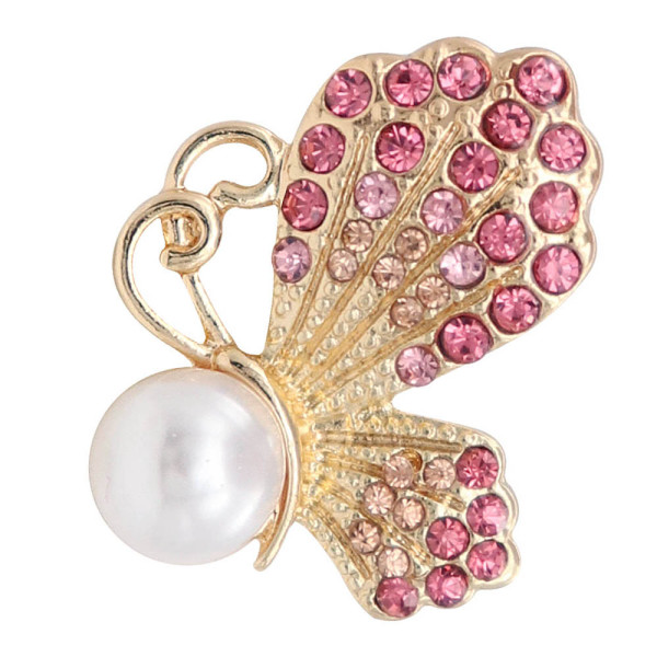 20MM design Butterfly  gold snap with Pink rhinestone and pearls KC8021 snaps jewelry