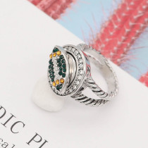 Football 12MM snap With Orange and Green Rhinestone KS7057-S interchangable snaps jewelry