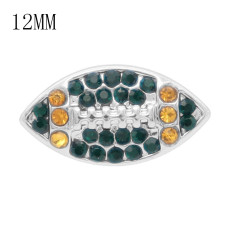 Ballon de football 12MM avec strass orange et vert KS7057-S Snaps interchangeables bijoux