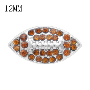 Football 12MM snap Avec strass marron et blanc KS7058-S Snaps interchangeables bijoux