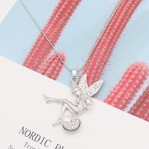 silver pendant Necklace with White rhinestones 70cm chain KS1284-S fit 20MM chunks snaps jewelry