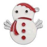 Noël 20MM design bonhomme de neige avec strass KC9113 s'enclenche bijoux