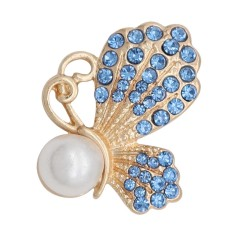 20MM design Butterfly  gold snap with light Blue rhinestone and pearls KC8025 snaps jewelry