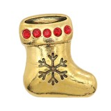 Navidad 20MM diseño calcetín navideño chapado en oro con diamantes de imitación KC9107 broches joyería