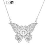 Papillon pendentif en argent collier avec strass blanc chaîne 40cm KS1287-S fit 12MM morceaux morceaux s'enclenche bijoux