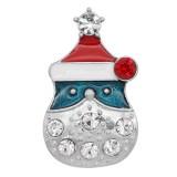 Navidad 20MM diseño muñeco de nieve complemento con diamantes de imitación KC9108 broches de joyería
