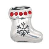Navidad 20MM diseño calcetín de Navidad con diamantes de imitación KC9106 broches de joyería