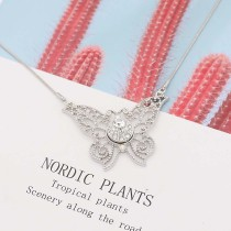 Butterfly silver pendant Necklace with White rhinestones 40cm chain KS1287-S fit 12MM chunks snaps jewelry