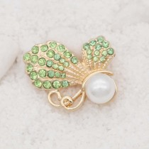 20MM design Butterfly  gold snap with Green rhinestone and pearls KC8024 snaps jewelry