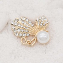 20MM design Butterfly  gold snap with White  rhinestone and pearls KC8026 snaps jewelry