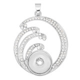 snap sliver Pendant with White rhinestone  fit 20MM snaps style jewelry KC0465