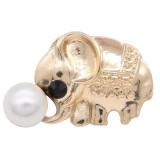 20MM Design Elefant Gold Snap mit weißen Perlen KC8028 Snaps Schmuck