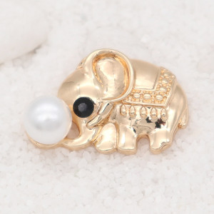 20MM design Elephant  gold snap with White pearls KC8028 snaps jewelry