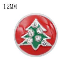 Navidad 12MM diseño árbol de Navidad con piedra de cristal y esmalte verde rojo KS7062-S broches de joyería