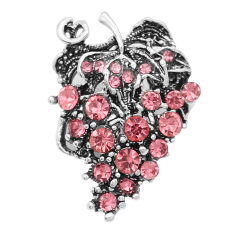 Grape 20MM snap Silver Plated avec strass rose-rouge KC9143 snaps jewelry