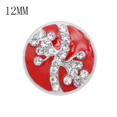 12MM design metal snap with white rhinestone KS7070-S red enamel snaps jewelry