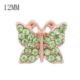 Diseño 12MM Mariposa broche de oro rosa con diamantes de imitación verde KS7075-S broches de joyería