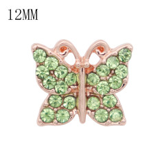12MM design Butterfly rose gold snap with green rhinestone KS7075-S snaps jewelry