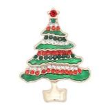 Arbre de Noël design 20MM de Noël avec émail strass KC8034 s'encliquette bijoux