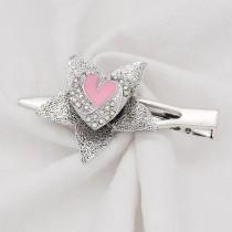Love 20MM snap Plateado con esmalte de diamantes de imitación rosa KC9137 broches de joyería