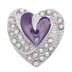 Love 20MM snap Plateado con esmalte púrpura KC9138 broches de joyería